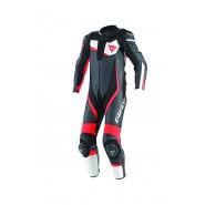 Mono Dainese Veloster profesional perforado negro/blanco/rojo