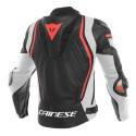Chaqueta Dainese Mugello leather jacket Black/White/Fluo Red