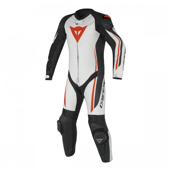 Mono Dainese Assen 1 pc perf white/black/red fluo Alta visibilidad, multicolor