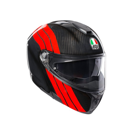 Casco AGV SportModular Stripes Carbon/Red