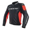 Chaqueta DAINESE Racing 3 leather black/black/fluo red