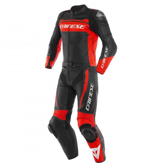 Mono Dainese Mistel 2pcs Leather suit BLACK-MATT/FLUO-RED/BLACK-MATT