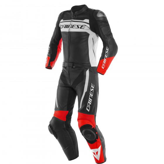 Mono Dainese Mistel 2pcs Leather suit BLACK-MATT/WHITE/LAVA-RED