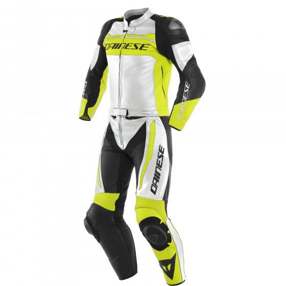 Mono Dainese Mistel 2pcs Leather suit WHITE/FLUO-YELLOW/BLACK