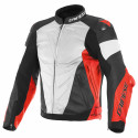 Chaqueta Dainese Super race leather jacket WHITE/FLUO-RED/BLACK-MATT