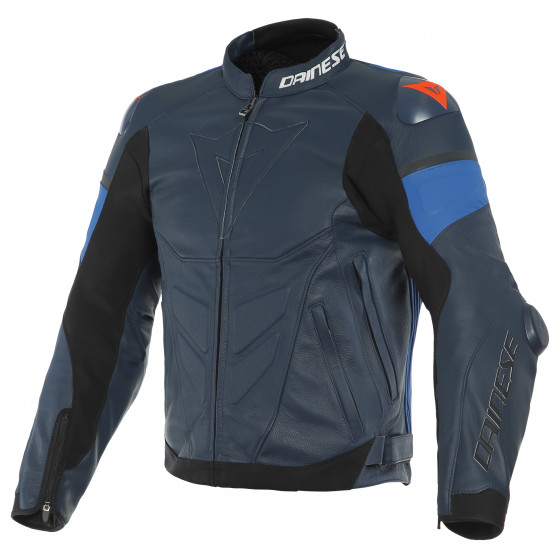 Chaqueta Dainese Super race leather jacket BLACK-IRIS/LIGHT-BLUE/FLUO-RED