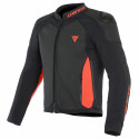 Chaqueta Dainese Intrepida Perf leather jacket BLACK/BLACK-MATT/FLUO-RED