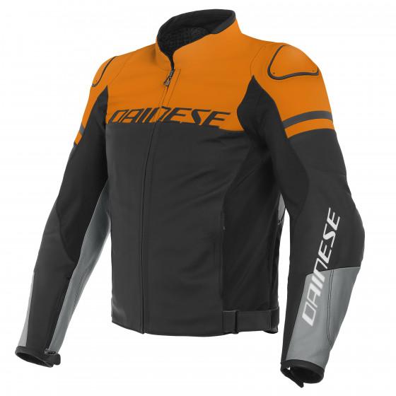 Chaqueta Dainese Agile leaher jacket BLACK-MATT/ORANGE/CHARCOAL-GRAY