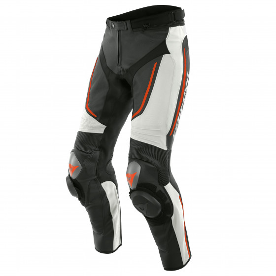 Pantalon Dainese Alpha perf. Leather pant WHITE/BLACK/FLUO-RED